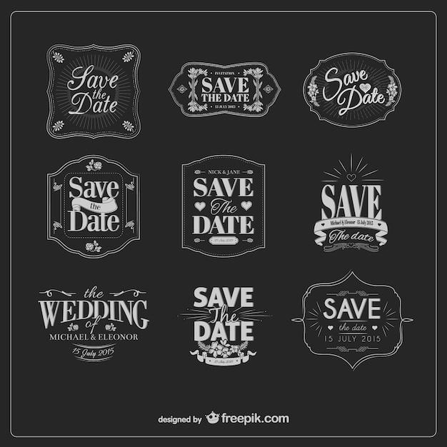 Black and white vintage wedding labels