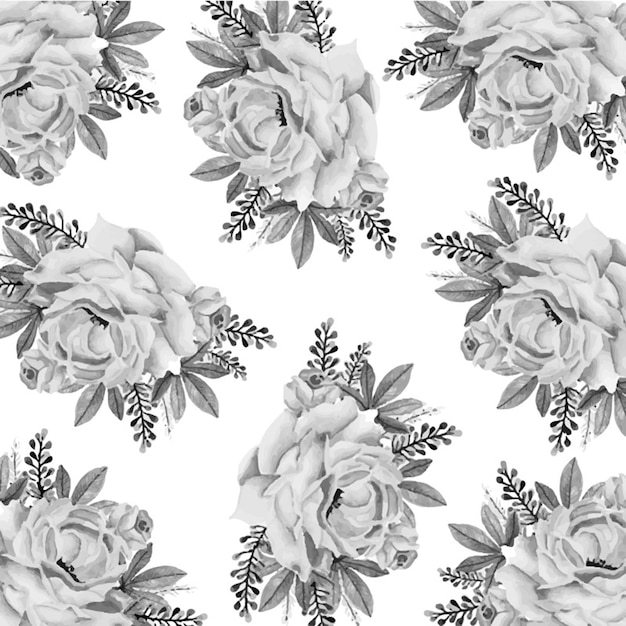 Black And White Watercolor Floral Background Vector