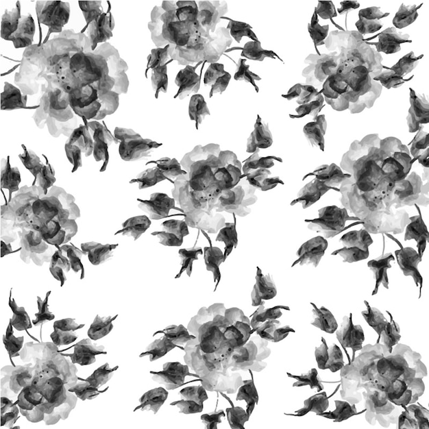 Black and White Watercolor Floral Background Free Vector