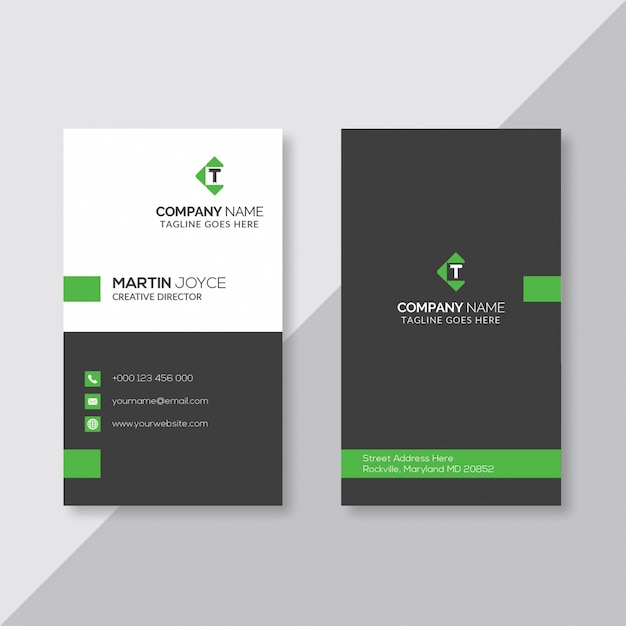 Black And White With Green Minimal Vertical Business Card Premium Vector