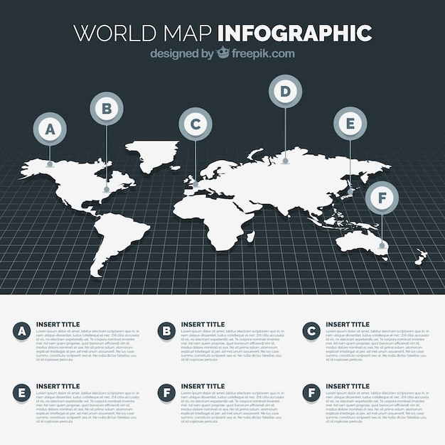 Black And White World Map Infographic Free Vector