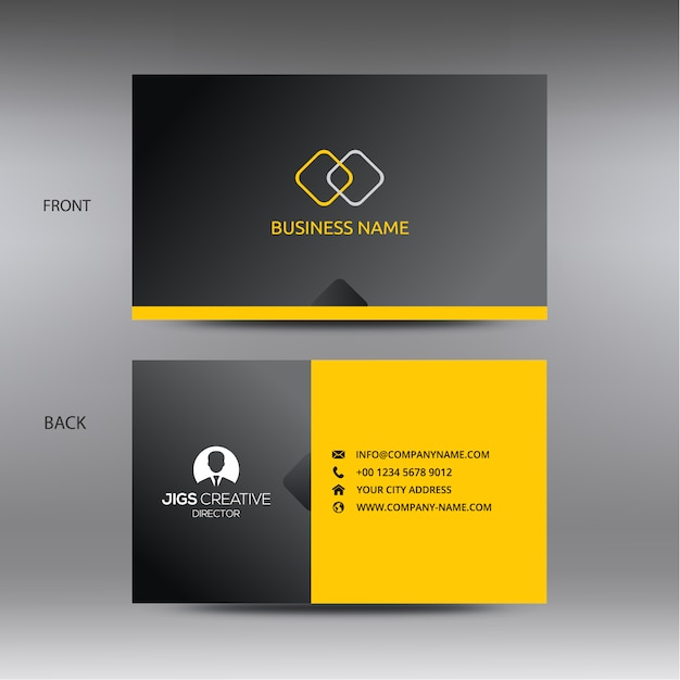 black and yellow business card template vector premium download