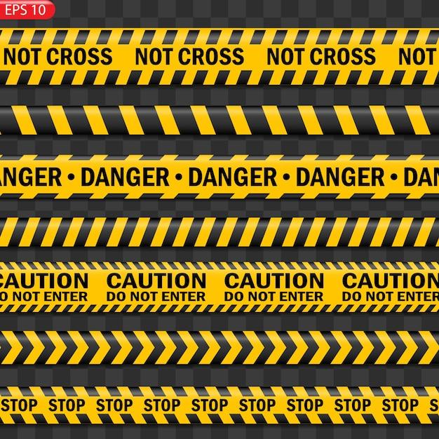 Изолированные черные и желтые линии предупреждения. реалистичные предупреждающие ленты. знаки опасности. Premium векторы