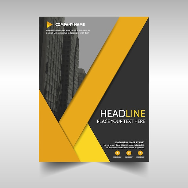 Book With Black And Yellow Cover : Black and yellow geometric business brochure vector free