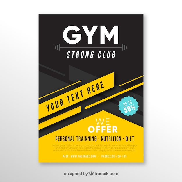 Black and yellow gym cover template