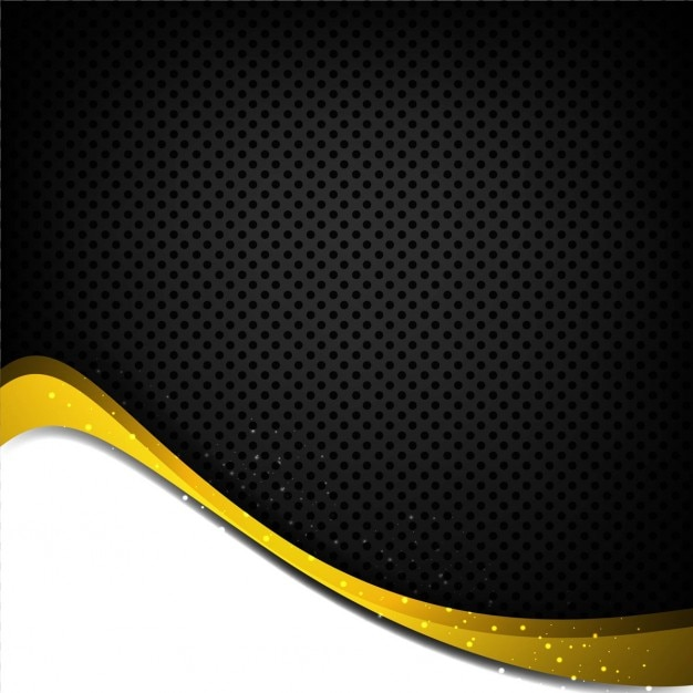 Black And Yellow Wavy Background With Dots Vector