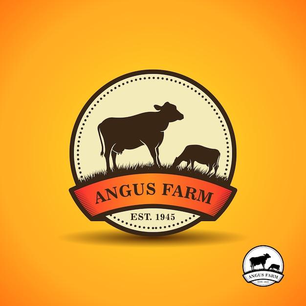 Black angus logo design template. cow farm logo design Premium Vector