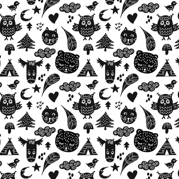 Black animals pattern Free Vector