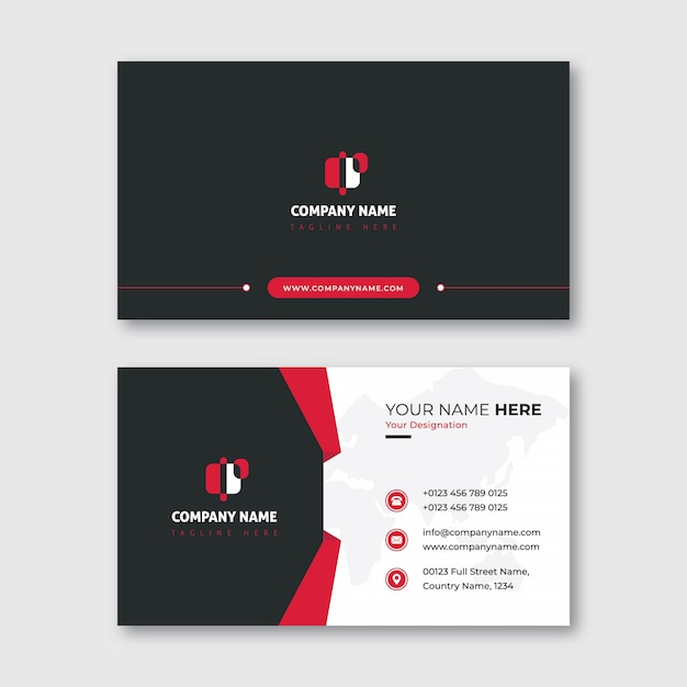 Black ans red modern business card with shape Premium Vector