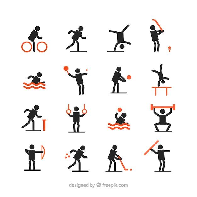 Black avatars playing sports Free Vector