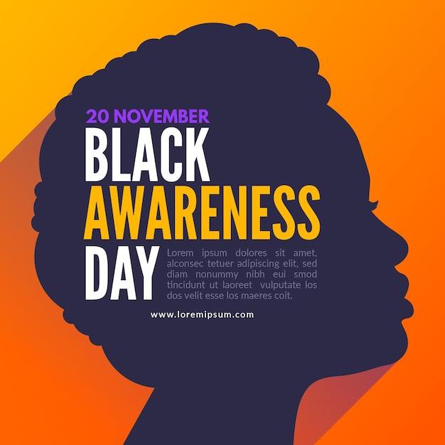 女性のプロファイルを持つ黒い意識の日のお祝いイラスト 無料ベクター