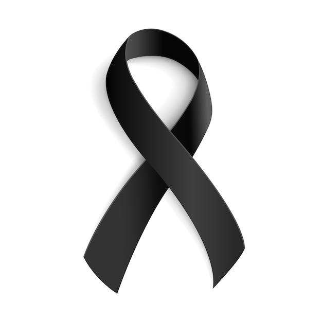 Black awareness ribbon for mourning and melanoma symbol. Premium Vector