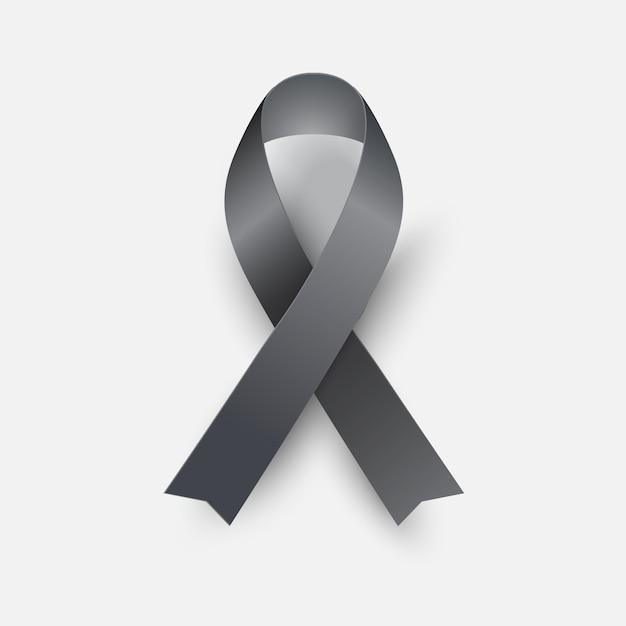 Black awareness ribbon Premium Vector