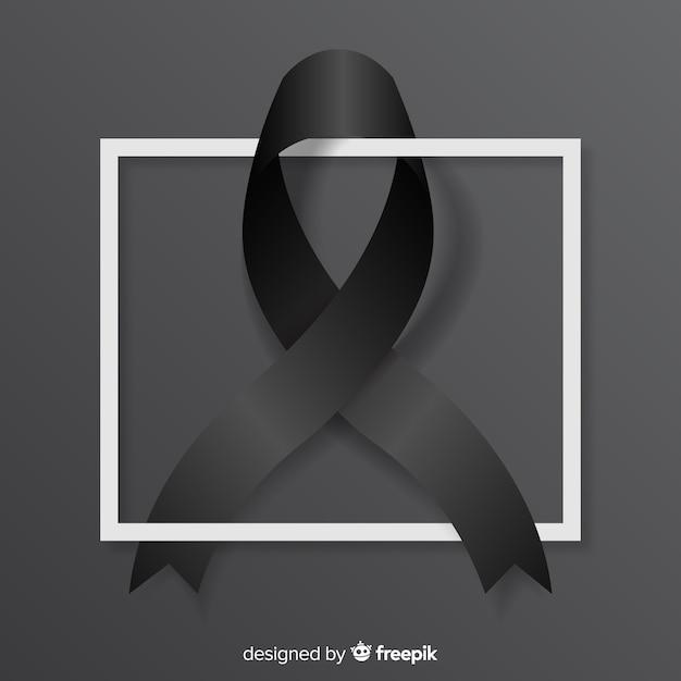 Black awareness ribbon Free Vector