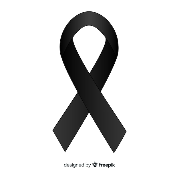 Black awareness ribbon Free Vector