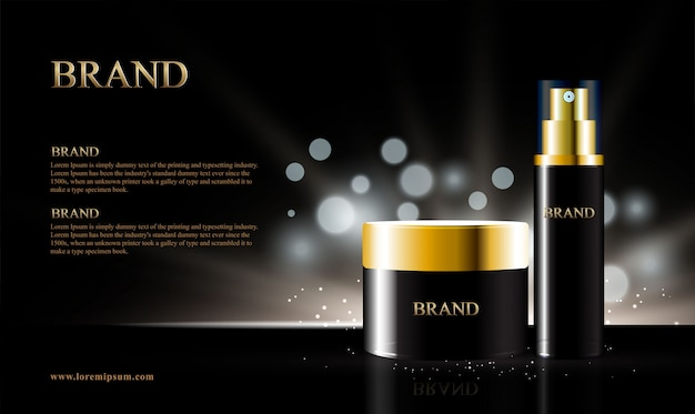 Black background for cosmetic products with bokeh Premium Vector