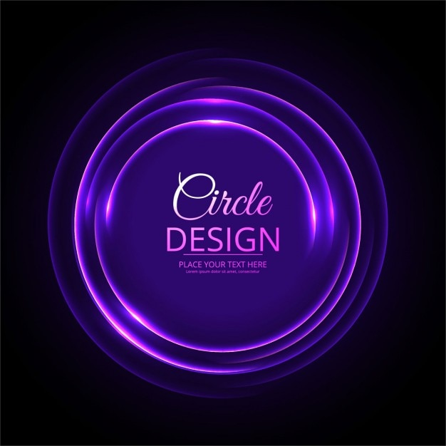 Black Background With A Purple Neon Circle Free Vector
