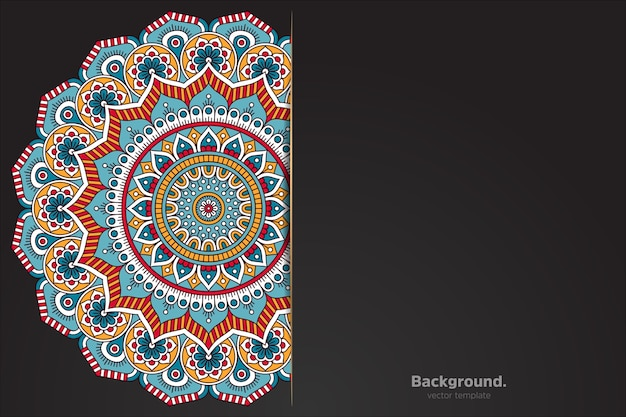 Black background with abstract oriental mandala Premium Vector