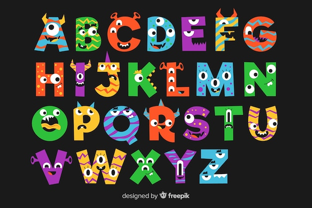 Black background with alphabet letters with halloween monsters Free Vector