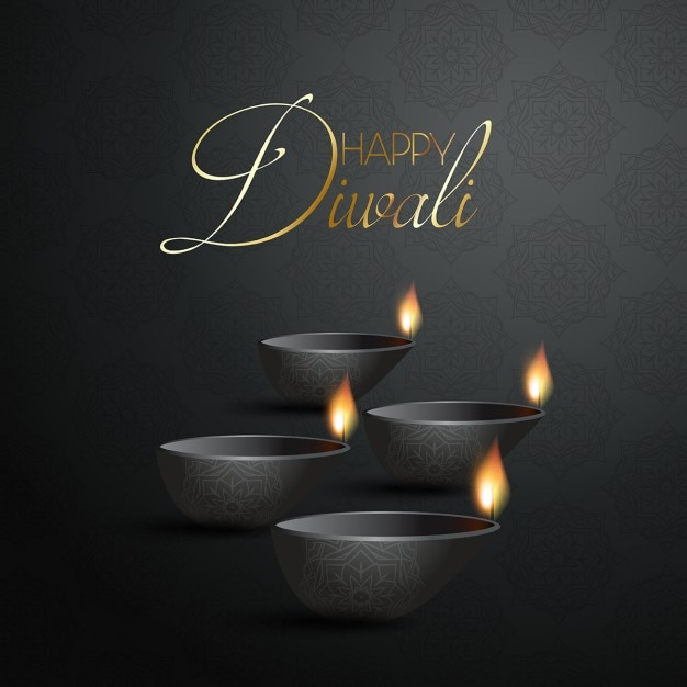 Black background with candles for diwali Vector | Free ...