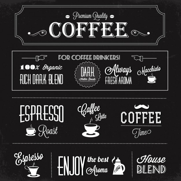 Black background with coffee labels Free Vector
