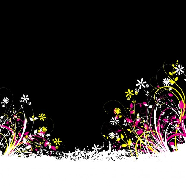 Black Background With Colorful Flowers Free Vector
