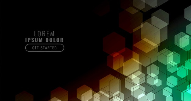 Black background with colorful hexagonal grid Free Vector