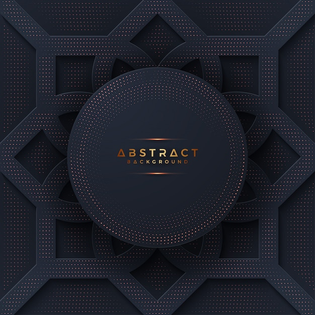 Black background with a combination glowing golden dot. Premium Vector
