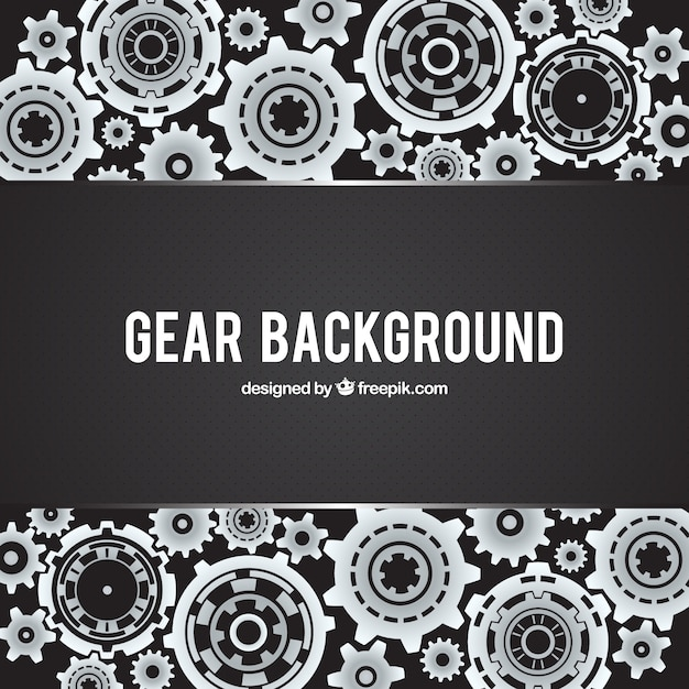 Black background with dots and metallic gears Free Vector