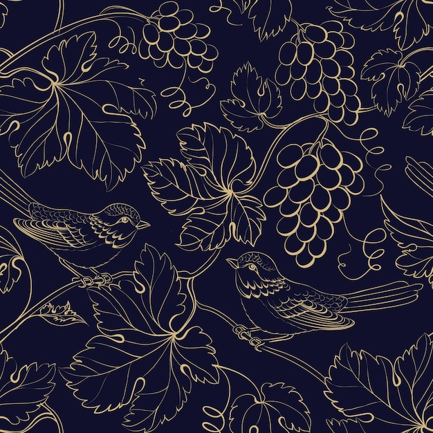 Black background with gold grape berries and leaves. Free Vector