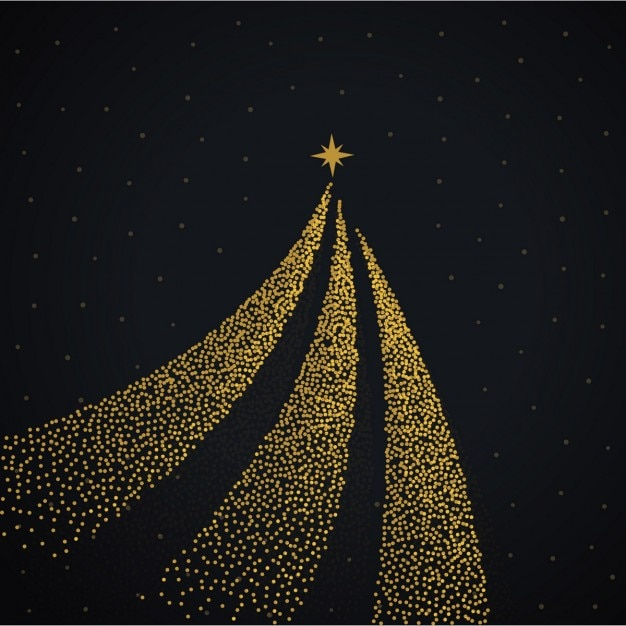 Black Background With A Golden Christmas Tree Vector Free Download