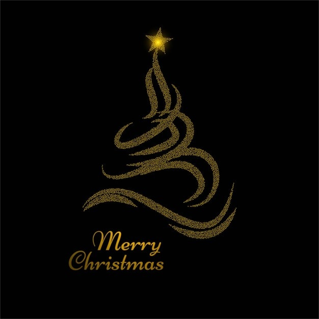 Black background with golden christmas tree Free Vector