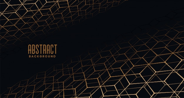Black background with golden perspective hexagon pattern Free Vector