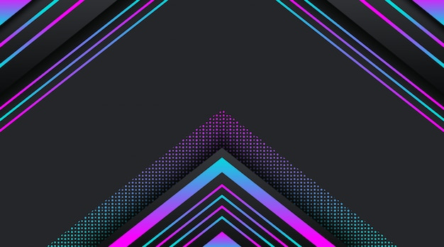 Black background with gradient neon glitter geometric shape Premium Vector