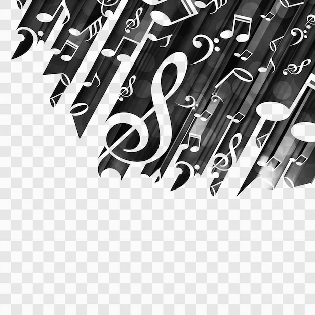 Black background with musical notes Free Vector