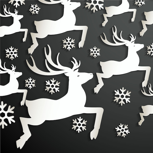 Black background with reindeers and snowflakes Free Vector
