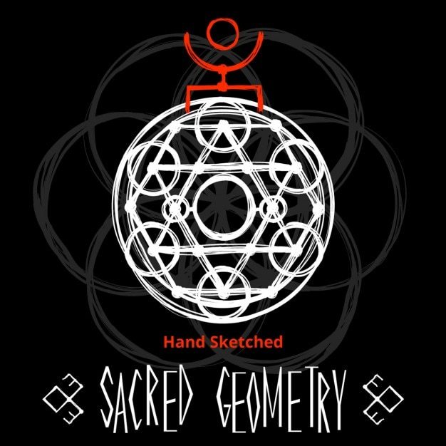 Black background with sacred geometry drawing Free Vector