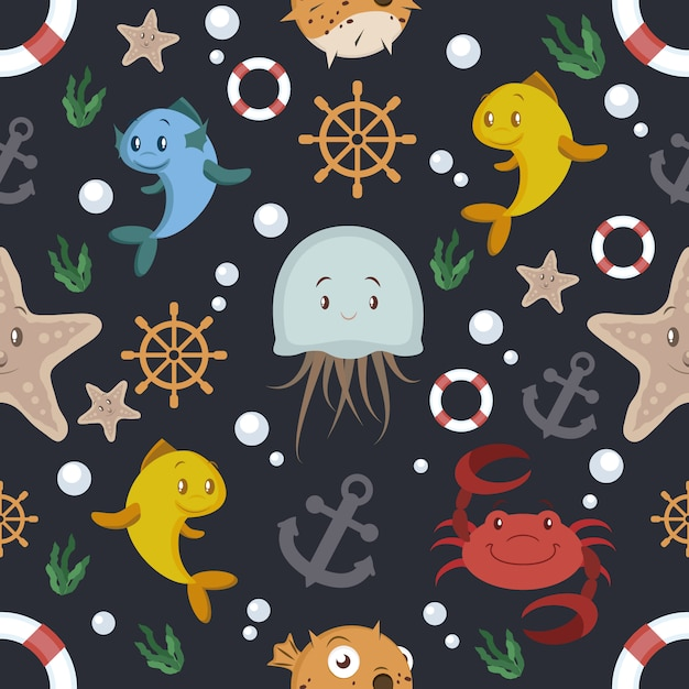 Black background with sealife pattern Free Vector