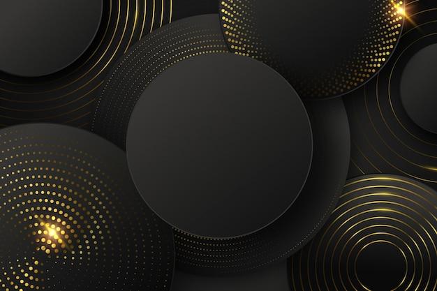 形状と黄金の要素と黒の背景 無料ベクター