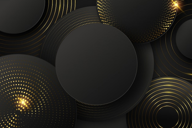 Black background with shapes and golden elements Free Vector