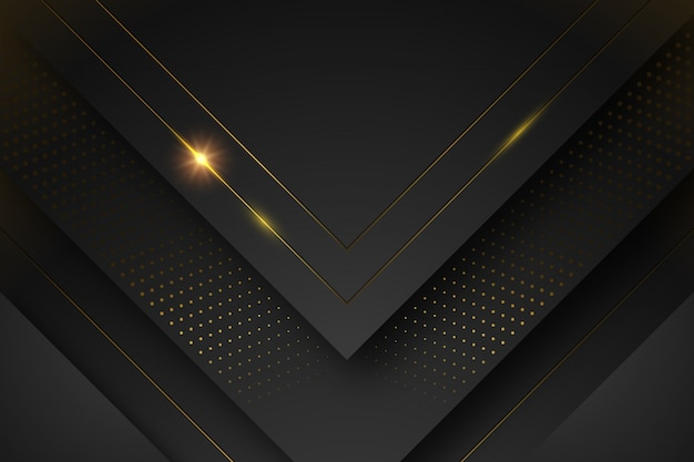 Black background with shapes and golden lines Free Vector