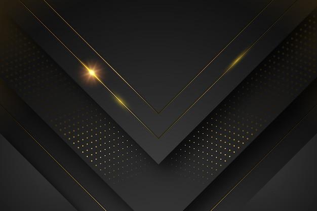 Sfondo nero con forme e linee dorate Vettore gratuito