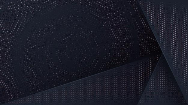 輝く黄金のハーフトーンパターンと黒の背景。 Premiumベクター