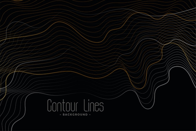 Black background with shiny contour lines Free Vector