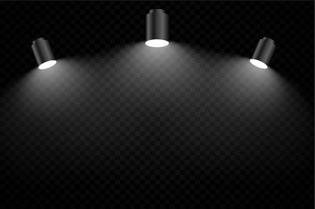 세 가지 현실적인 초점 빛으로 검은 배경 무료 벡터
