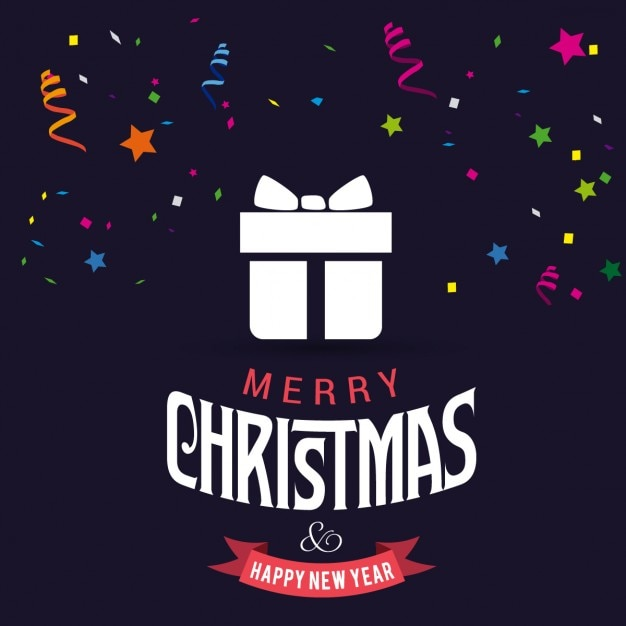 Free Vector Black Background With A White Christmas Gift