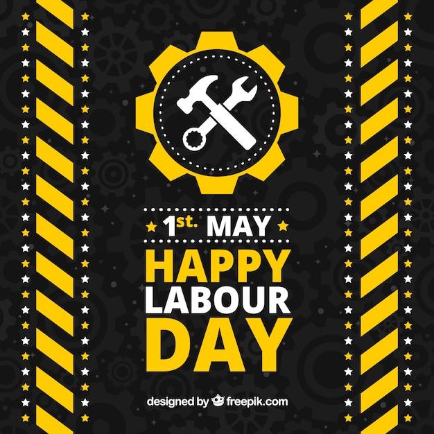 労働日の黄色と白の要素を持つ黒の背景 無料ベクター
