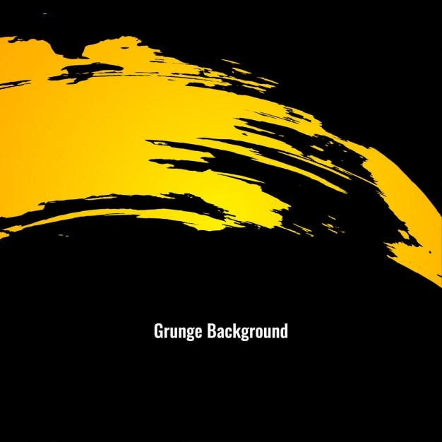 black background with yellow grunge texture vector free