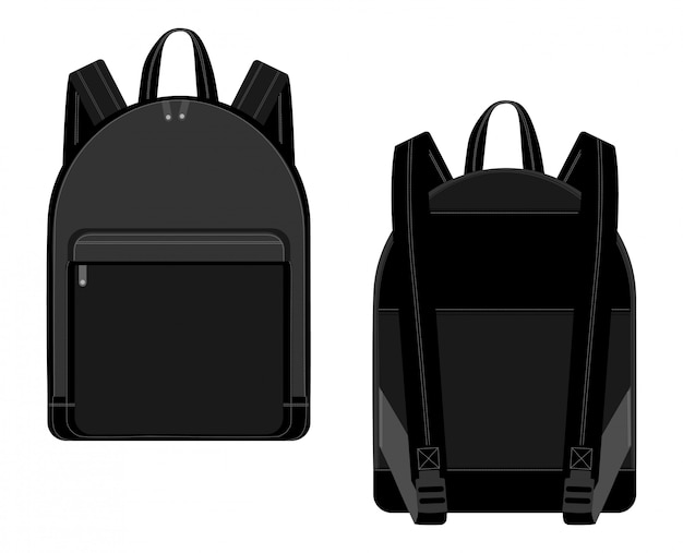 Black backpack vector illustration technical drawing. backpacks for schoolchildren, students, travellers and tourists with zippers Premium Vector