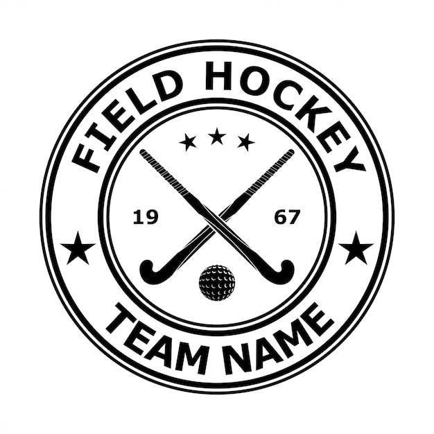 Black badge emblem design field hockey Premium Vector
